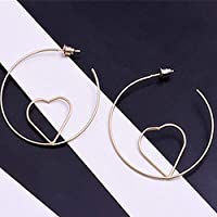 Burenqi Earring Gold Color Heart Large Hoop Earrings For Women Girl Punk Style Round Loop Earrings