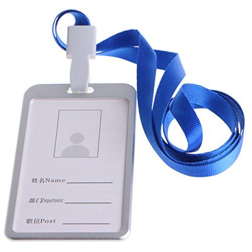 Lamdoo Aluminium Legierung id Kreditkarte Halter, Bezug Hals Nylon Lanyard Band, Aluminiumlegierung, Silver Frame + Blue Lanyard, 9.8 * 5.6 * 0.3cm (Aluminium-abzeichen-halter)