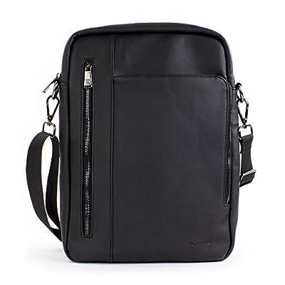 """Sacoche pour tablette, Snugg Sac bandoulière en cuir 12,9"""" pouces [Intérieur doux] Pour iPad, Samsung Tab, Google Pixel C, Surface Pro, MacBook Air - Noir."""