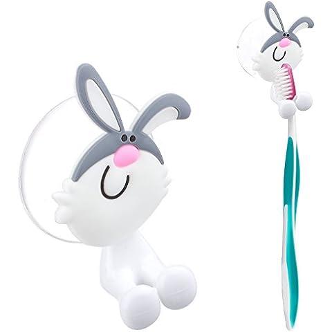 Zooky® Coniglio bianco Grazioso porta spazzolino per il bagno con gancio a forma di animale fissabile a parete con le ventose