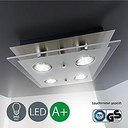 Foco LED I Plafón cuadrado I Con 4 x 3 W bombillas GU10 I Metal I Cristal satinado I Níquel mate I Lámpara de techo moderna I 230 V I IP20 I Superficie: 250 x 250 x 70 mm