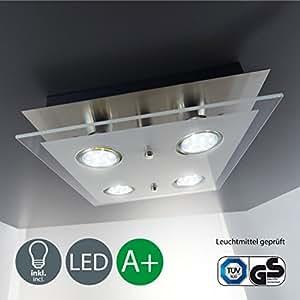 B.K. Licht plafonnier LED moderne, verre satiné, 4x3W, GU10, lampe bureau salon chambre cuisine couloir, éclairage intérieur, plafonnier bureau, applique murale, 230V, IP20
