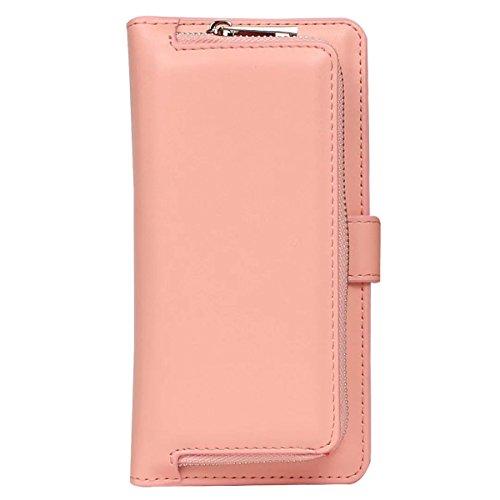 iPhone 6 Hülle, iPhone 6S Hülle, Gift_Source [ Rosa ] Leder Phone Case Hülle Brieftasche mit Kartenfächer [Geldscheinfach mit Reißverschluss] Premium Börse Tasche mit abnehmbaren Magnet Handy Schutzhü E1-Rosa