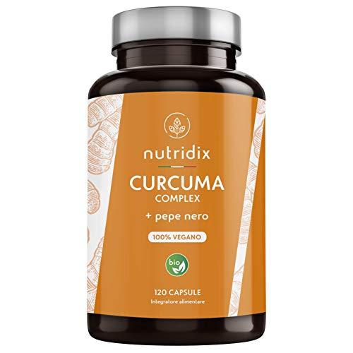 Curcuma Bio (650mg) con Pepe Nero (50mg) e Zenzero (10mg) | 120 Capsule Gastroresistenti | Integratore 100{d18566f4325418062ba2a866d1d63ea1c9259f5194618fb5155b30ea5d7c8d97} Vegano | Curcuma Complex | Prodotto da Nutridix