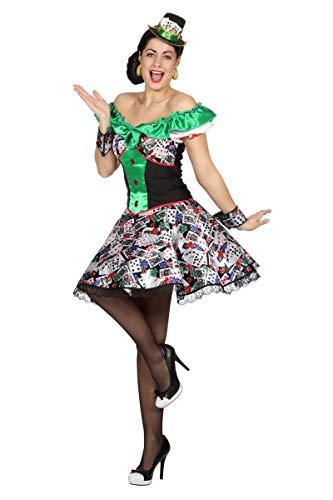 Casino Kostüm - Wilbers Damen Kostüm Kleid Casino Spielkarten Karneval Fasching Gr.42