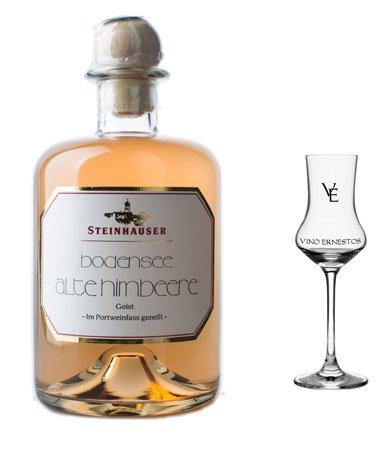 Bodensee Alte Himbeere im Portweinfass gereift - Edition VINO ERNESTOS in der Apothekerflasche mit dem Original VE Obstbrandglas
