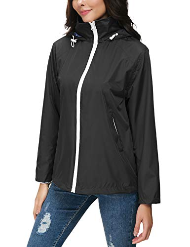 ZHENWEI Regenjacke Damen Wasserdicht Outdoorjacke Regenmantel Schwarz Softshelljacken Walk Kapuzenjacke Streetwear - 4