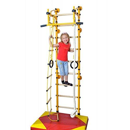 NiroSport FitTop M2 Indoor Klettergerüst für Kinder Sprossenwand für Kinderzimmer Turnwand Kletterwand, TÜV geprüft, kinderleichte Montage, max. Belastung bis ca. 130 kg, Made in Germany (Gelb, Raumhöhe 200 - 250 cm)