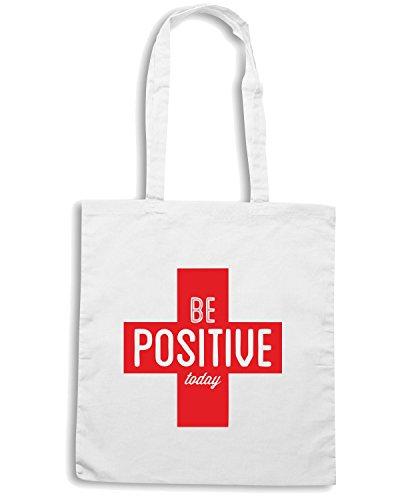 T-Shirtshock - Borsa Shopping CIT0047 Be Positive Today Bianco