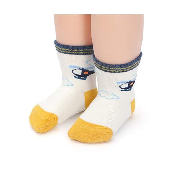 YANWANG 12 Pares de Calcetines de Algodón Antideslizantes Con Agarre para Bebés y Niños Pequeños 5