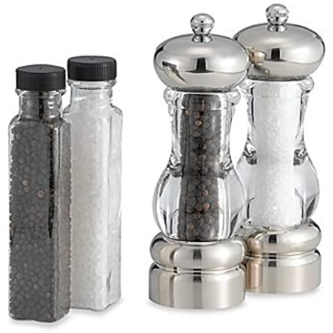 Brushed Metal Constructed Pepper Mill and Salt