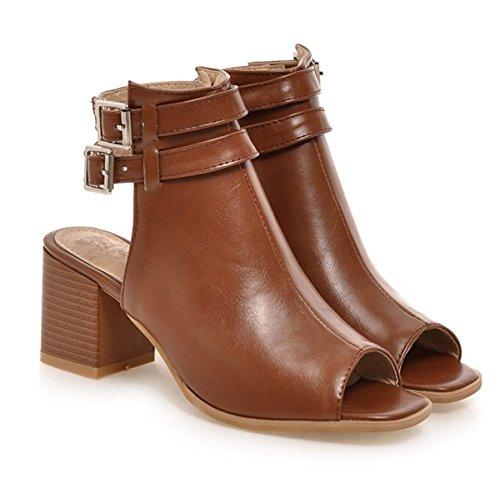 YE Damen Peep Toe Slingback Chunky Heels Sandaletten mit Blockabsatz und Schnalle 6CM Absatz Sommer Offen Ankle Boots Braun