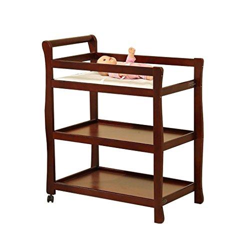 Bébé Table À Langer Trois Couches En Bois Massif Bébé Nursing Bureau Table De Douche Massage Table Deux Ronds Amovible Pour 0~3 Ans (Couleur : Brown)