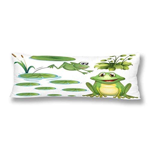 CiCiDi Seitenschläferkissen Kissen-Bezug 40x145 cm Grüner Frosch und Wasser Lilywhite Atmungsaktives Kissenhüllen mit Reißverschluss Baumwollen und Polyester - Baby-bettwäsche-sets Frösche