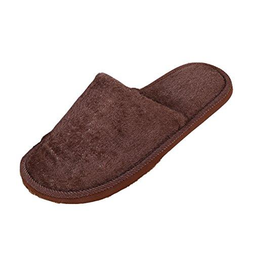 Gaatpot Confort Peluche Chaussons Anti-Derapant pantoufles Hiver Intérieure Chaud Coton Pantoufles pour hommes et femmes Marron