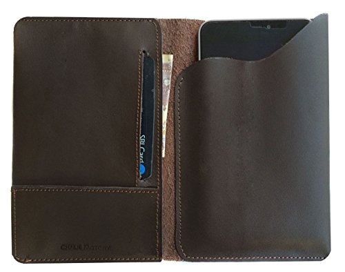 Chalk Factory Genuine Leather Case, cover cum Wallet for SPICE Xlife-520 HD Dual Sim Android 5.1 Lollipop with 1.3 Ghz Quad Core Processor 8MP Camera and 12.7 cm... Mobile Phone (#PP, Brown)