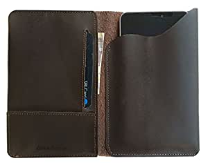 Chalk Factory Genuine Leather Case, cover cum Wallet for Intex Aqua Ace Mobile Phone (#PP, Brown)