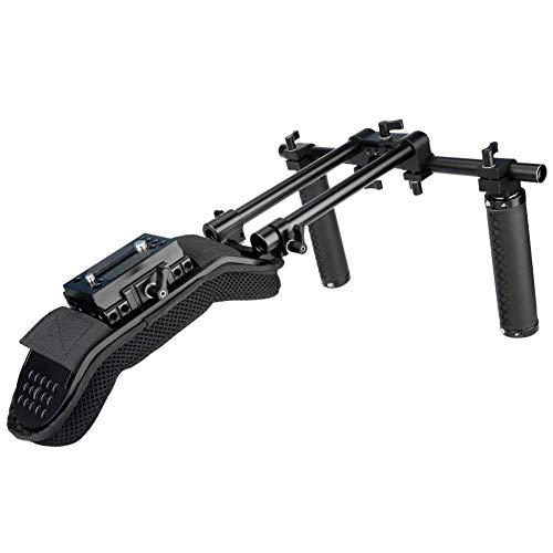 NICEYRIG 15mm Schulterpolster Rig Trägersystem mit QR Grundplatte Montage Lederhandgriffen für DSLR DV Videokamera