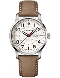 Wenger Men's 'Sport' Swiss Quartz Stainless Steel and Leather Casual Watch, Color:Brown (Model: 01.1541.103)