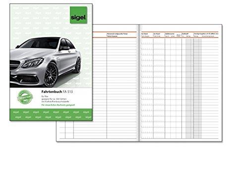 Sigel FA513 Fahrtenbuch A5, 32 Blatt - für Vielfahrer max. 540 Fahrten
