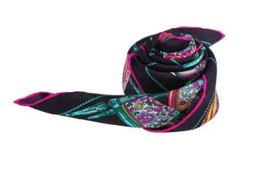Zavetti carré de luxe en Pure soie écharpe de Portage-Sergé Lady's Fashion Fine à bords roulés à la main-motif de meubles Noir - Noir
