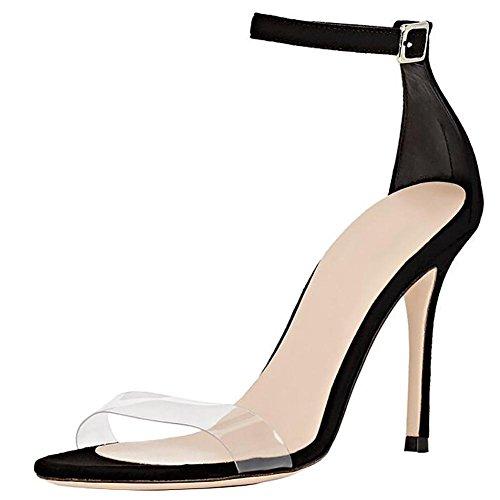 SYYAN Damen PVC Transparent Offener Zeh Handgemacht Pumpe Kleid Sandalen Black