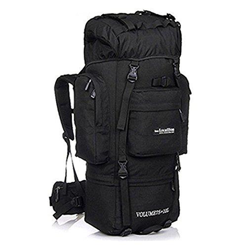 85L gran capacidad al aire libre mochila montañismo bolsa de deportes bolsa de viaje de senderismo anti-wear resistente Camping tienda de campaña, negro