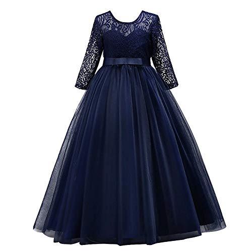 IBTOM CASTLE Mädchen Prinzessin Kleid Blumenmädchenkleid Taufkleid Festlich Kleid Hochzeit Festzug Babybekleidung Spitze Bowknot Kleid S# Marineblau 11-12 Jahre (Für Hochzeit Kleid Cinderella)
