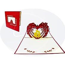 LIN-POP UP Karten Hochzeitskarten, Hochzeitseinladungen Valentinskarten 3D Karten Grußkarten Glückwunschkarten Liebe Hochzeit, Paar im Herz