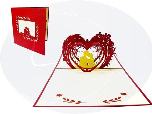 Lin de Pop up Cartes de mariage mariage cartes, invitations Valentin Cartes cartes 3D Cartes de vœux Félicitations cartes de mariage amour, Couple dans le cœur