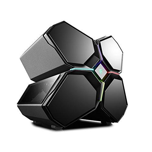 DeepCool quadstellar Case für PC Gaming Full Tower, System-Beleuchtung RGB, Slide Vorderseite, magnetische Platten aus Hartglas, 5Lüfter enthalten, Schwarz (Slide Beleuchtung)