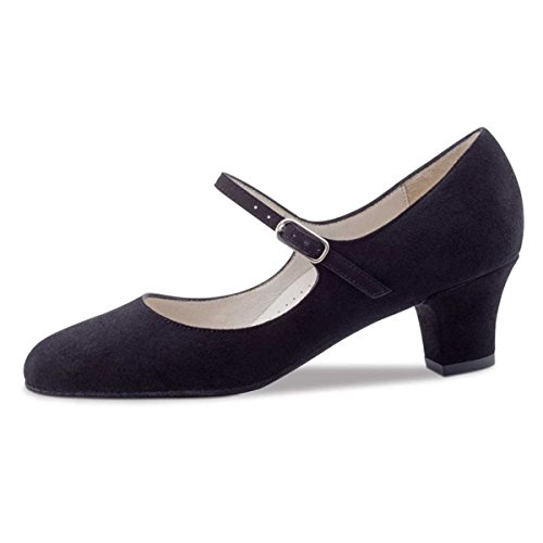 Werner Kern - Damen Tanzschuhe Ashley 4,5 Velourleder Schwarz [UK 6]