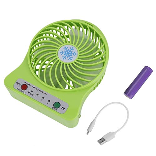 Vvciic Tragbare Mini-Ventilator mit LED-Luftkühler Batteriebetriebene USB-Lade LED-Licht-Schreibtisch-Ventilator (Grün)