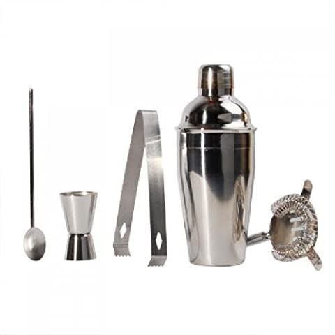 SODIAL(R) Lot de 5 en acier inoxydable Cocktail Shaker Set