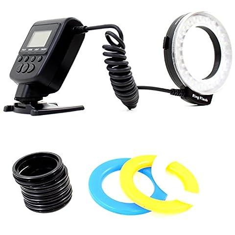 DynaSun 550 LED Annulaire Macro Ring Flash Projecteur Lumière avec 8x Universelle Bagues et Fonction
