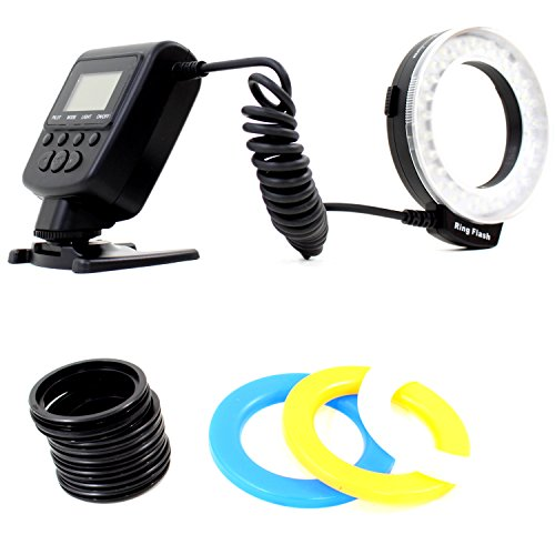 DynaSun 550 LED Macro Ring Flash Illuminatore Luce Light per Canon Nikon Olympus Panasonic Pentax DSLR Nero