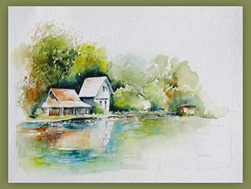 Aquarellbild'Das Haus am See' Landschaftsbild Wasser Haus Grün Blau