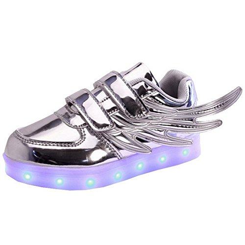 Fortuning's JDS Enfants unisexe en cuir verni Aile coiffer clignotant Sneakers Velcro USB chargeant filature chaussures LED Chaussures lumineuses Argent