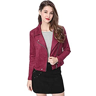 Allegra K Women's Convertible Collar Zip up Faux Suede Moto Jacket M Red