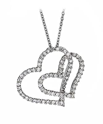 Carissima Gold 18 ct White Gold 0.50 ct Diamond Double Heart Necklet of 40 cm/16 inch
