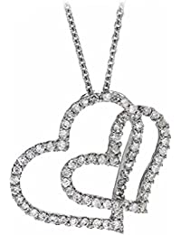 """Carissima Gold 18ct White Gold 0.50ct Diamond Double Heart Necklet of 40cm/16"""""""