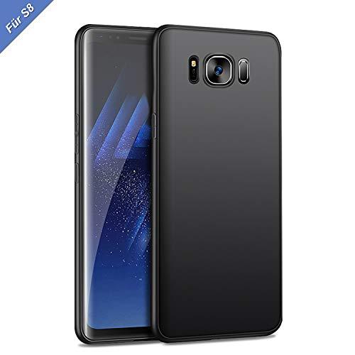 Whew Hülle Kompatibel Samsung Galaxy S8, Matt Schwarz Ultra Slim TPU Schutzhülle Case Silikon, Kratzfest und Stoßfest Handyhüllen, 5.8 Zoll Kompatibel Galaxy S8 -