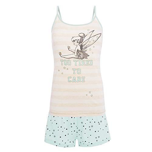 Tinkerbell Mädchen Pyjamas (-:Disney:- Pyjama/Pyjama-Set Tinkerbell mit Weste und Shorts, Geschenkidee Gr. 34/36 DE/XS, rosa/braun)