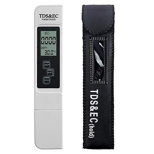 AUTOUTLET TDS Messgerät Digitales Wasserqualitätsmessgerät Professionelles TDS EC Meter - und Temperaturmessgerät 0-9999 ppm Teststift für Trinkwasser, Aquarien, Hydroponics, Pools