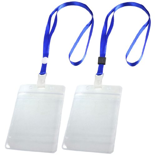 SODIAL(R) 2 Pcs Porte Badge ID Carte Laniere tour de cou reglable Clair Bleu