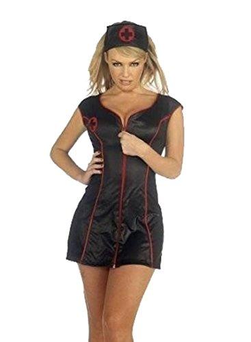 enschwester Kostüm Outfit MIT HUT FRAUEN-Kostüm SLIM FIT ZIP FRONT SIZE 36-44 (S, schwarz) (Krankenschwester Kostüm In Schwarz)