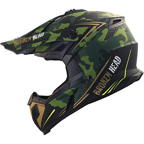 Broken Head Squadron Rebelution camouflage grün-gold Cross-Helm | MX Motocross Helm - Quad-Helm - Sumo-Helm (L 59-60 cm)