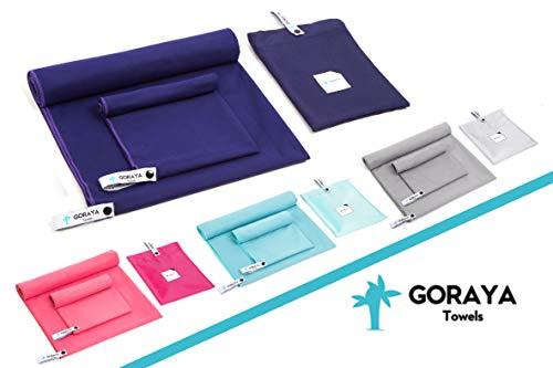 Goraya Mikrofaser Handtuch 160x80 cm, Sporthandtuch & Reisehandtuch in Marineblau| Ultraleichtes Handtuch mit Tragetasche | Perfekt als Badehandtuch, Saunahandtuch, Strandtuch, Fitnesstuch geeignet|
