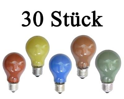 netSells® * 30 Stück Glühlampen farbig gemischt * E27 / 25 W * matt * z. B. für Party- u. Biergartenbeleuchtung * Energieeffizienzklasse: E von netSells® - Lampenhans.de