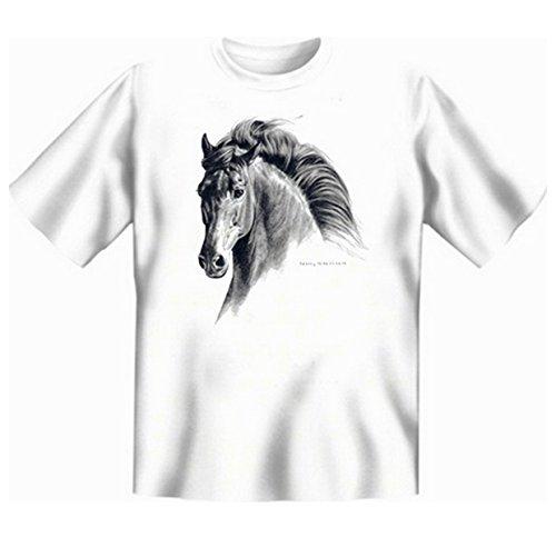 Spanische Pferde Faszination Übergrössen Tshirt GAVILAN - ANDALUSIAN Gr 5XL in weiss